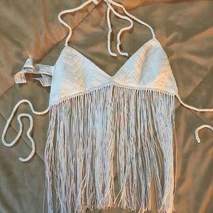 Crochet White crop top Bershka size S
